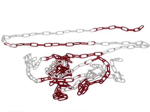 Absperrkette Rot-Weiß 2m Stahl Glieder 5mm Rundstahlkette Warnkette Baustellensicherungskette