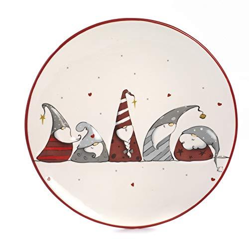 Paben Noel Assiette de Noël avec décoration de noms en céramique diamètre 26,2 cm