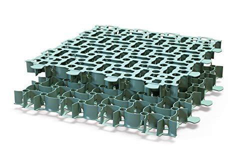 GARDENIX 4 Stück/1m² Puzzle Paddockplatten Paddockplatte Rasengitter (50 x 50 x 4 cm/Stück) (Grün)