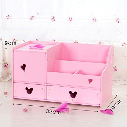 Coffre de rangement de stockage de cosmétiques avec miroir Toilette Petit tiroir de soins de la peau de finition étagère (couleur : Rose)