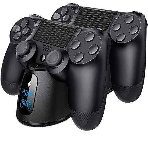 BEBONCOOL PS4 Controller Ladestation, PS4 Ladestation Controller Ladegerät Ständer mit LED Anzeige & Micro USB Kabel Zubehörsets für Sony Playstation 4 / PS4 Slim / PS4 Pro Wireless Controller