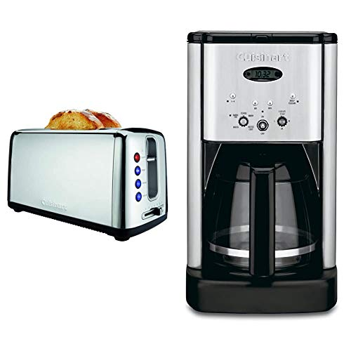 Cuisinart CPT-2400P1 Bakery Artisan Bread Toaster, 2 Slice, Silver & DCC-1200 Brew Central 12 Cup Programmable Coffeemaker, Black/Silver