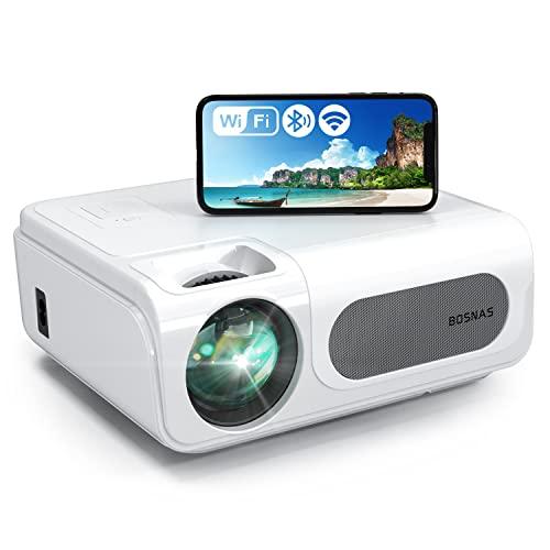 WiFi Beamer 9000 Lux, Native 1080p Bluetooth Beamer Full HD, BOSNAS C50 Beamer Heimkino, 4K Video Unterstützt, Support HDMI TV Stick PS5 Xbox Laptop, iOS/Android Smartphone Projektor