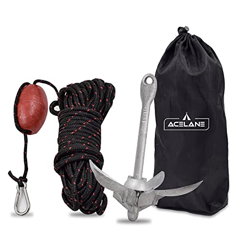 Acelane Kayak Anchor 3.5lb Folding Grapnel Anchor Kit with 50ft Marine Anchor Line & Buoy for Kayak Fishing, Canoes, Jet Ski, SUP Board and Small Boat