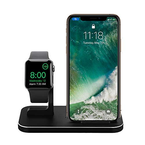 XINHAI 2 in 1 Aluminum Alloy Phone Wireless Charger Stand & Charging Station Compatible iWatch Holder Series 4/3/2/1/iPhone 11/11 Pro/11 Pro Max/X/Xs/Xs MAX/8 Plus/8