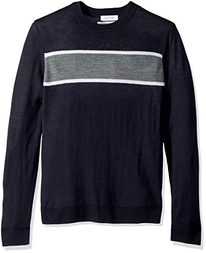 Calvin Klein Men's Merino Sweater Crew Neck, Combo Roman Blue, Small