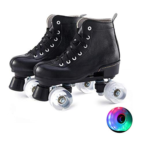 PHSDA Classic Roller Skates for Women PU Leather Premium Roller Skates Black Skates Shiny Four Wheels Roller Derby Skates for Kids and Adults (40/260/us 7)