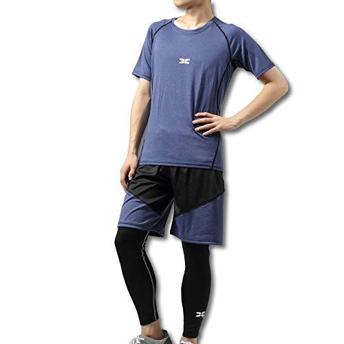 フィットネスウェア 上下3点セット コンプレッションウェア 半袖シャツ タイツ ハーフパンツ ランニング ジョギング メンズ ab-001,Blue,M