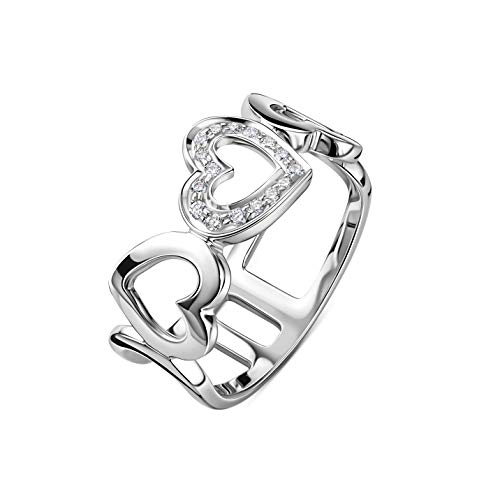 Orovi Schmuck Damen Ring Weißgold 0.10 Ct Diamant besetzten Herz Ring 18 Karat (750) Gold und Diamanten Brillanten