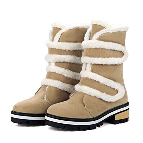 Frauen Schneeschuhe Magische Aufkleber Flache Herde Warme Stiefel Täglich Outdoor rutschfeste Kunstpelzfutter Mittlere Waden Winterstiefel