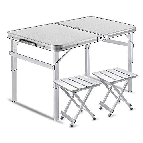 HSRG Mesa Plegable para Picnic con 2 sillas de Altura Mesa Ajustable Taburete Plegable de Aluminio y Juego de Mesa para Camping, Picnic, Barbacoa, Fiesta y Comedor,White