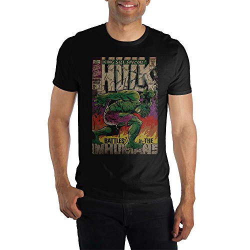 Vintage The Hulk Marvel Comic Book Cover Artwork Men's Black Graphic Print Boxed Cotton T-Shirt...