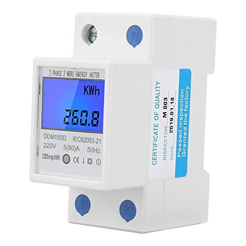 Multifunzione LCD KWh Meter, Contatore elettrico digitale monofase 2 fili 1Phase su guida DIN elettronico KWh Meter 220V 5 (80) A [Classe di efficienza energetica A]