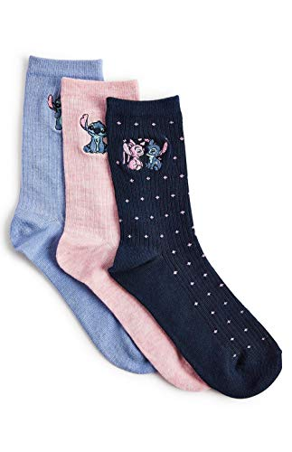 Lilo and Stitch - Calcetines para mujer, 3 pares, talla 4-8
