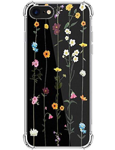 kinnter Silikon Handyhülle Kompatibel mit iPhone SE (2020) Hülle Transparent Ultra Dünn TPU Bumper Stoßfest Schutzhülle Original Design für iPhone SE (2020) Tasche Cover
