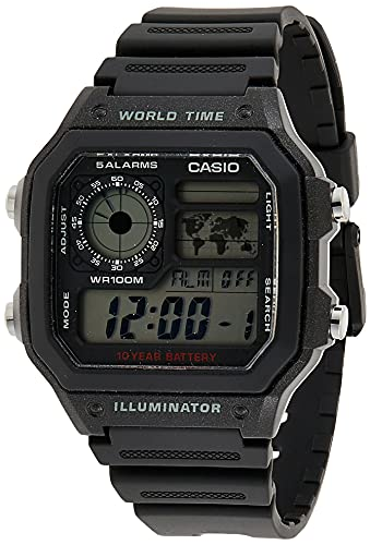 Casio Men's Classic Japanese-Quartz Watch with Resin Strap, Black, 21 (Model: AE1200WH-1A)