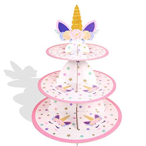 Alzata Per Cupcake In Cartone Da Dessert Alzata Per Cupcake Cartone Unicorno Alzata Per Torta Rosa Per Festa Compleanno Alzata Per Cupcake Per Tea Party Pasticceria Piatto Da Portata, Vassoio Torta