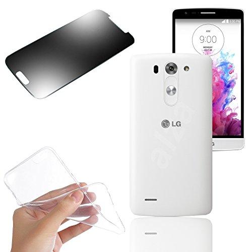 Silicona Case Funda De Piel tanque + cristal pantalla para móviles LG (transparente) de eximmobile