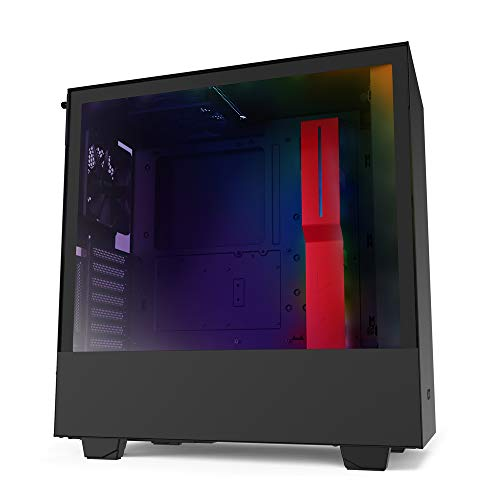NZXT H510i - CA-H510i-BR - Compact ATX Mid-Tower PC Gaming Case - Front I/O USB Type-C Port - Vertical GPU Mount - Tempered Glass Side Panel - Integrated RGB Lighting - Black/Red