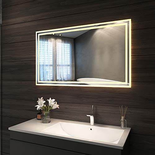 LED Beleuchtung Badspiegel 100 x 60 cm Badezimmerspiegel Wandspiegel mit Beleuchtung Lichtspiegel IP44 energiesparend | Warmweissen
