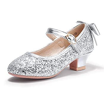 PANDANINJIA Girls Toddler/Little Kid Jada Dress Mary Jane Pumps with Heels Bow Party Wedding Princess Shoes  Silver Sequin 8 M US Toddler