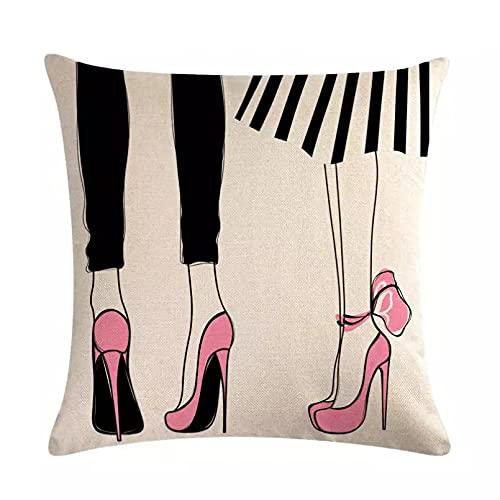 Funda Cojine sofá Decorar Funda Almohada Patrón de tacones altos de dibujos animados funda de cojín tacones altos funda de almohada roja rosa sofá de lino silla de coche decoración de moda 45x45 cm