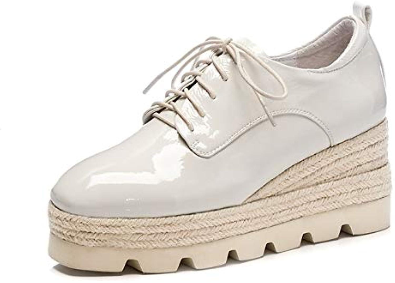 MENGLTX High Heels Sandalen Art Und Weise Frauen-Grundlegende Pumpen-Echtes Leder-Frühlings-Herbst-Keil-Absatz-Schuh-Frauen-Runde Zehen-Plattform-Beilufige Schuhe