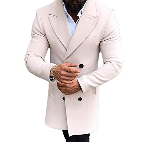 Mens Long Double Breasted Trench Coat Gentlemen Formal Wear Jacket Overcoat Outfits Pea Coats (Beige, XXXL)