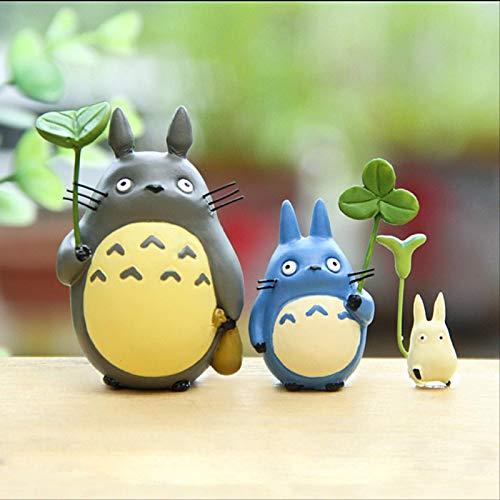 3 Stück Totoro Mit Blatt Niedliche Figur Toy Studio Ghibli Miyazaki Hayao Mein Nachbar PVC Actionfiguren Sammlung Modell Kinderspielzeug