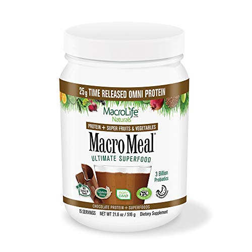 MacroLife Naturals MacroMeal Omni Superfood Powder Time-Released Protein Blend, Greens, Digestive Enzymes, Fiber, MCTs - Energy - Non-GMO, Gluten-Free, rSBT-Free - Chocolate - 18.5oz (15 Servings)
