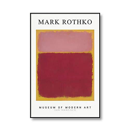 Las famosas impresiones de arte abstracto de Mark Rothko, póster de exposición, cuadro de arte de pared, pintura de lienzo sin marco familiar A1 60x90cm