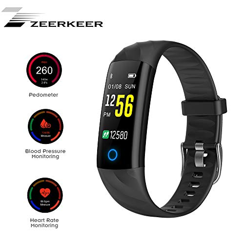 Zeerkeer Bluetooth Smart Watch orologio da polso Fitness Tracker con orologi, Cardiofrequenzimetro Contapassi impermeabile IP67 0,96 pollici grande schermo per Android IOS