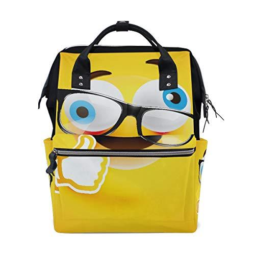 Emoji Emoticon Gelbe Wickeltasche Rucksack Mama Papa Tote Reise Schule Jungen Mädchen große Kapazität Windel für Mütter Männer Frauen