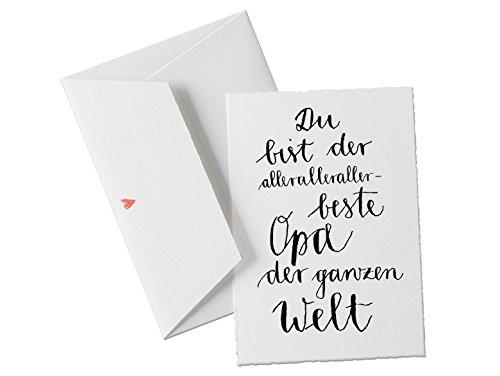 Spruchkarte - Du bist der allerbeste OPA der Welt, Geburtstagskarte oder Dankeschön Grußkarte für den Großvater und Lieblingsopa, klassisch mit Herz-Umschlag