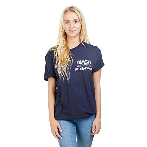 Nasa Aeronautics T-Shirt Camiseta, Azul (Navy Navy), M para Mujer