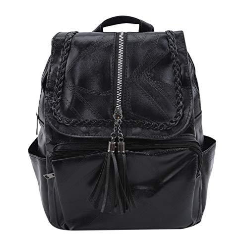 Lshop PU Casual Backpack Black Shoulder Soft Leather Travel Bag Tassel Zip Multi Pocket Twisted Braided Backpack