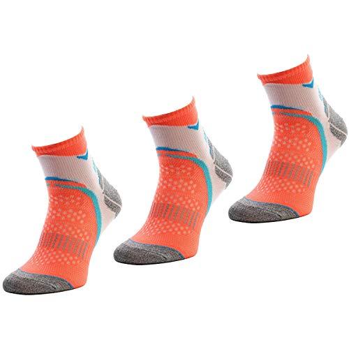 Comodo - Laufsocken Herren & Damen rutschfest|3 Paar Sportsocken kurz|farbige Sneaker Socken für Laufen/Fitness|Bunte Männer & Frauen Running Socks für Sommer & Winter RUN2 gr 43-46 weiß/lachs