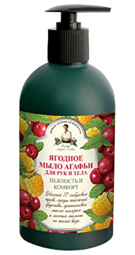 Flüssige Seife Rezepten von Oma Agafia, 500 ml Ягодное мыло Агафьи для рук и тела, Нежность и комфорт