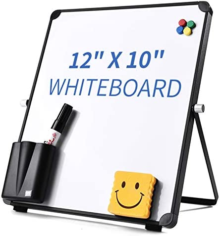 12 x 10 Small Dry Erase Board Whiteboard Desktop Portable Mini White Board Desk Easel 360 Rotation product image