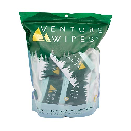 Large Shower Wipes with Aloe, Vitamin E and Tea Tree Oil, Bathing Wipes for Adults, Backpacking...