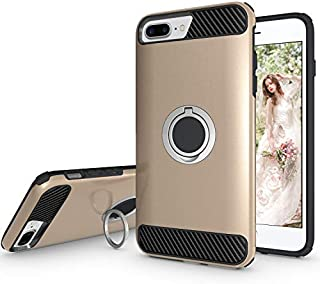 Ownest Compatible with iPhone 7 Plus Case,iPhone 8 Plus Case,iPhone 6 Plus Case with Armor Dual with Heavy Duty Protection and Finger Ring Kickstand Fit Magnetic Car Mount for iPhone6/7/8Plus-(Gold-5)