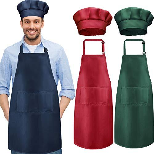 Chengu 6 Stücke Kochschürze Set Küchenschürze und Kochmütze Weihnachten Verstellbare Schürze mit Tasche Metzger Hut Bäcker Kostüm Küchenschürze für Männer und Frauen (Rot, Dunkelgrün, Marine)