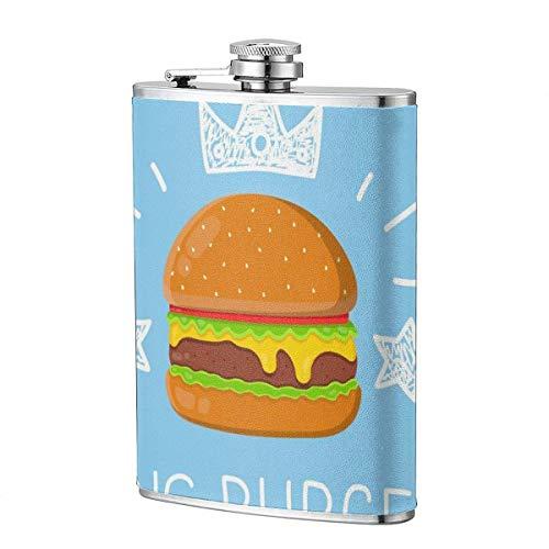 Frascos para beber XBYC para alcohol, King Burger Concept Vector Cartoon Flat y Doodle Illustration. Frasco de cadera de acero inoxidable de 8 oz para licor para hombres