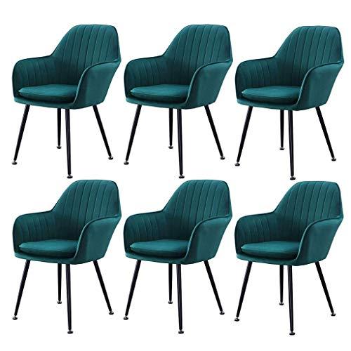 HYZXK Juego de 6 sillas de Comedor con Brazo de Tela Sillas de Cocina para Sala de Estar de Mediados de Siglo con cojín extraíble, sillón, tocador, Taburete para Dormitorio (Color: Verde