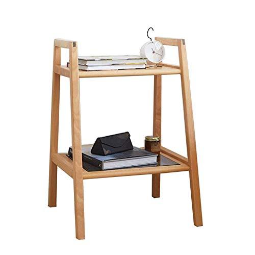 Mesa de cama, Tablas Todas las estantes trapezoidales de madera maciza, estanterías modernas de hogares simples, alojamiento, bastidor de almacenamiento de múltiples capas, mesa de centro de vidrio te