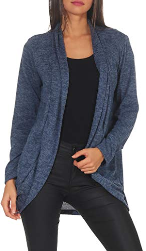 Malito Damen Strickjacke lang | Cardigan im eleganten Design | Angesagter Oversize Look - Weste - Jacke 5021 (Jeansblau)