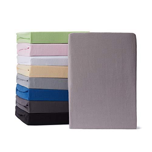 Lumaland Comfort Jersey Spannbettlaken mit Rundum-Gummizug - 140 x 200 cm - 160 x 200 cm - Steghöhe bis zu 25 cm - 160 g/m² 100% Baumwolle Spannbetttuch Bettlaken - Hellgrau