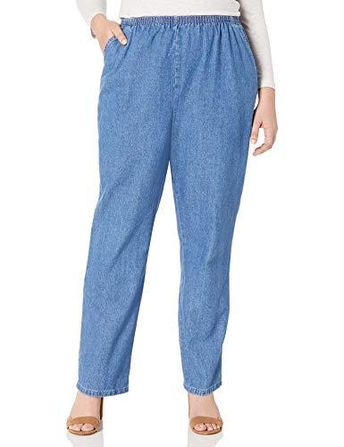 Chic Classic Collection Women's Petite Plus Stretch Elastic Waist Pull-On Pant, Destruction Blue Denim, 20P