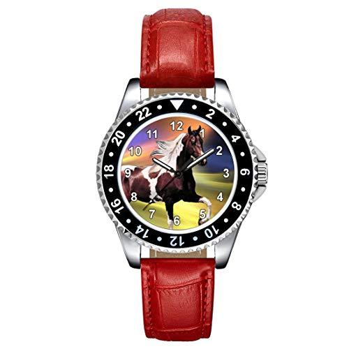 Timest - Caballo Paint Horse - Reloj para Mujer con Correa de Cuero Rojo Analógico Cuarzo SE1244LR
