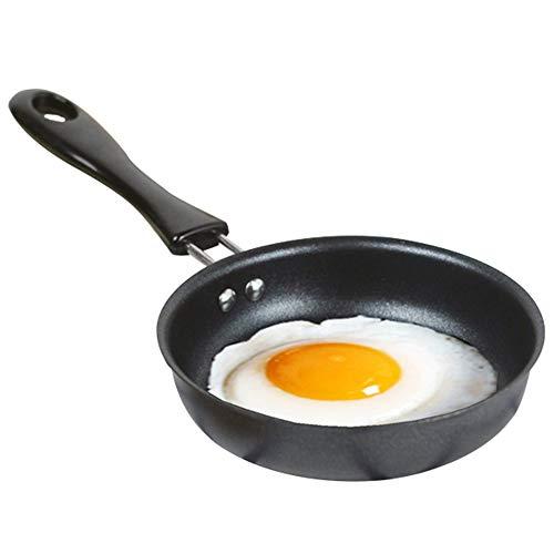 Mini poêle à frire anti-adhésive parfaite pour frire l'omelette d'œuf 4,7' Poêle ronde 12 cm Noir